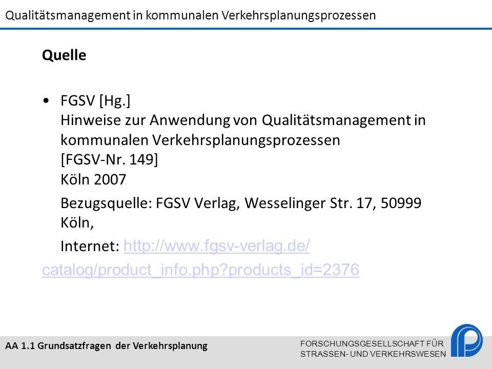 Quelle FGSV [Hg.] Hinweise zur Anwendung von Qualitätsmanagement in kommunalen Verkehrsplanungsprozessen [FGSV-Nr. 149] Köln 2007.